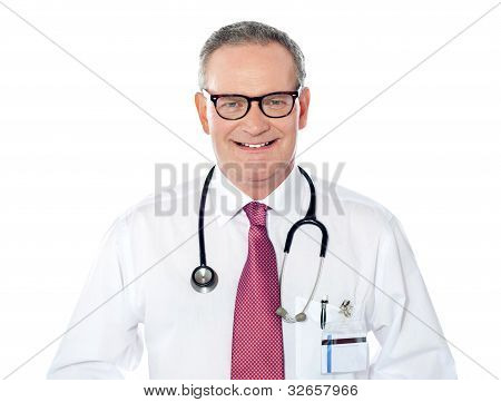 Portrait Of Caucasian Doctor Smiling