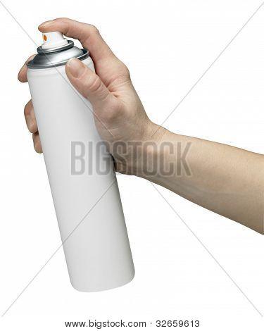 Mão e aerossol pode