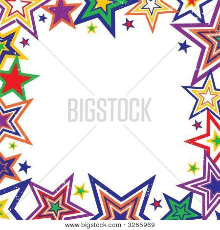 Rainbow Stars Border Vector