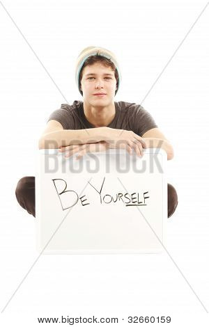 Young Man With Hip Style Holding Sign