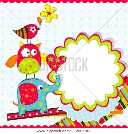 Plantilla de tarjeta de felicitación, vector ilustración de chatarra