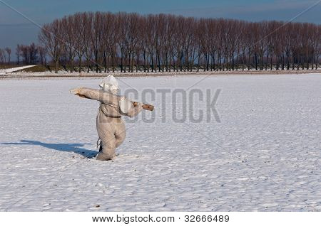 Scarecrow On A Snowy Field