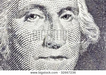 Extreme Macro of George Washington on the US Dollar Bill.