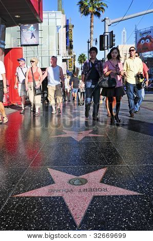 LOS ANGELES - OCTOBER 16: Hollywood Walk of Fame in Hollywood Boulevard on October 16, 2011 in Los Angeles. More than 2,400 five-pointed stars attracts about 10 million visitors annually