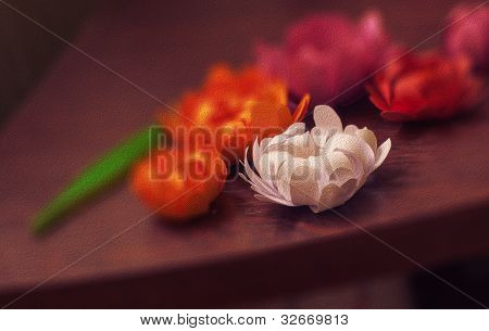 Photo of paper flowers stylized oil paints