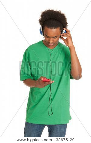 Black boy is listening to music from his smartphone