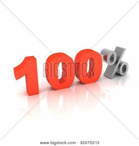 3d 100 percent sign