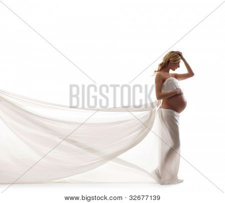 Young beautiful pregnant woman isolated on white