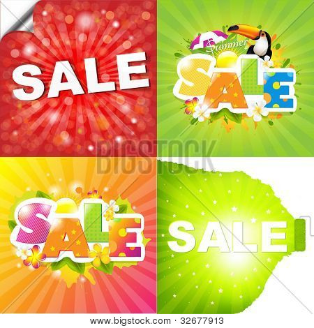 4 Colorful Sale Posters With Sunburst, Vector Illustration
