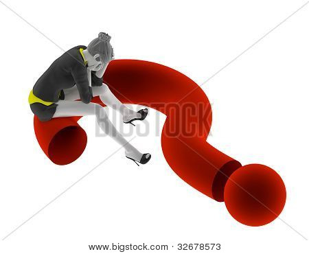 3d people woman sitting on question mark