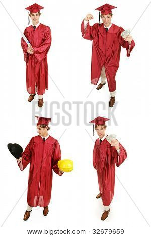 Multiple views of a young high school or college graduate.  Multiple views, full body, isolated on white.