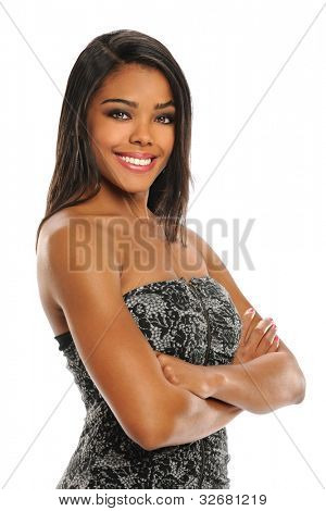 Portrait of beautiful African American woman with arms crossed isolated over white background