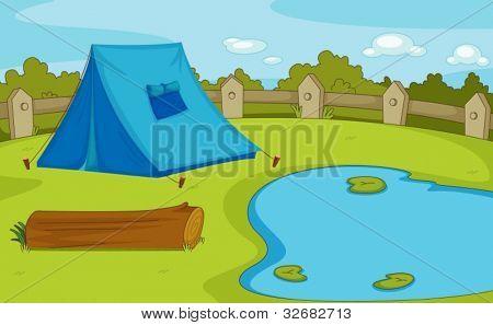 Ilustração de um local de acampamento