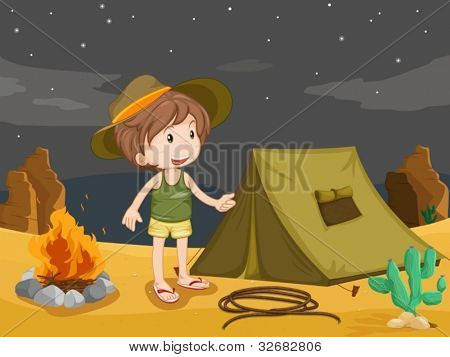 Illustration of boy camping in the desert