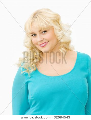 Portrait Of Beautiful Blonde Woman Smiling