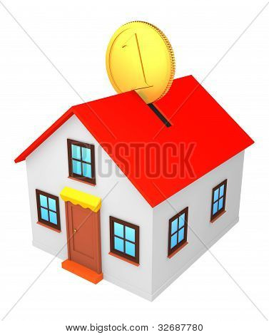 little house with gold coin