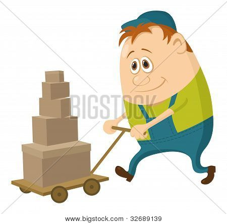 Worker with hand cart