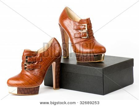 Sexy fashionable shoes with box isolated on white background.