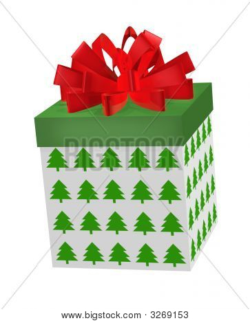 Christmas Gift Box Red Bow
