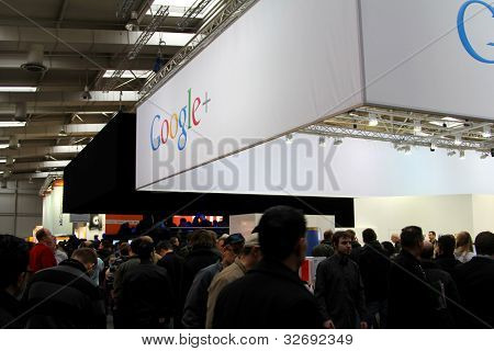Hannover, Germany - March 10: Stand Of Google+ On March 10, 2012 At Cebit Computer Expo, Hannover, G