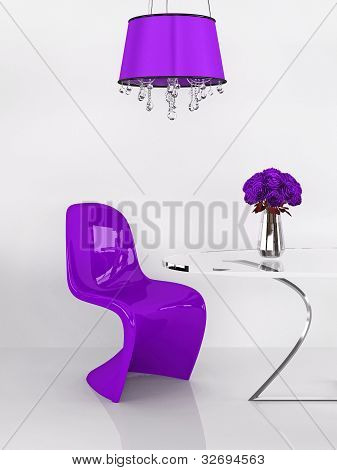 Modern Purple Chair In Minimalism Interior. Furniture. Loft. 3D Render