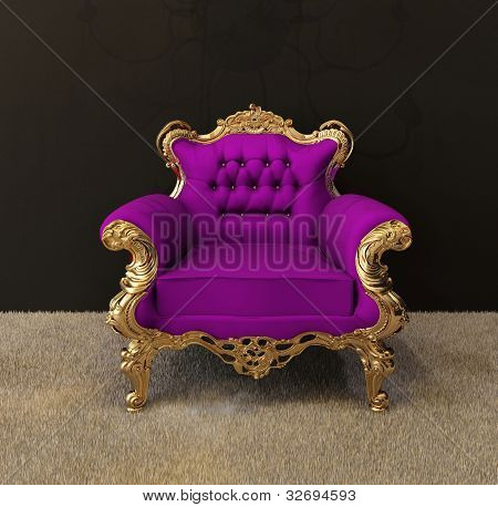 Luxury Armchair With Golden Frames And Royal Chandelier In Interior