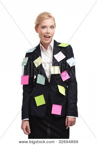 Tired businesswoman with sticky notes