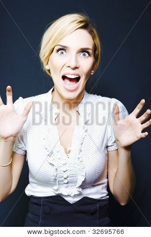 Attractive Business Woman Screaming In Terror