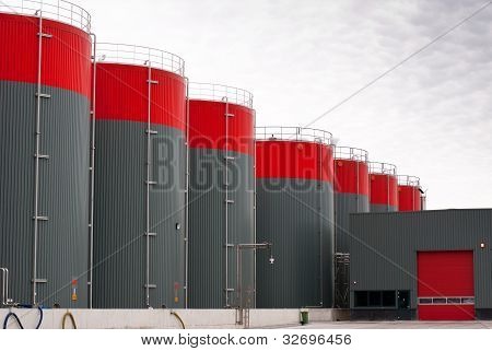 Grey Oil Storage Tanks