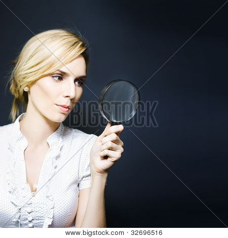 Stylish Business Woman With Magnifying Glass