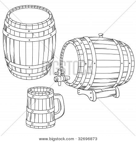 Vector illustration of a barrel, mug isolated on white.