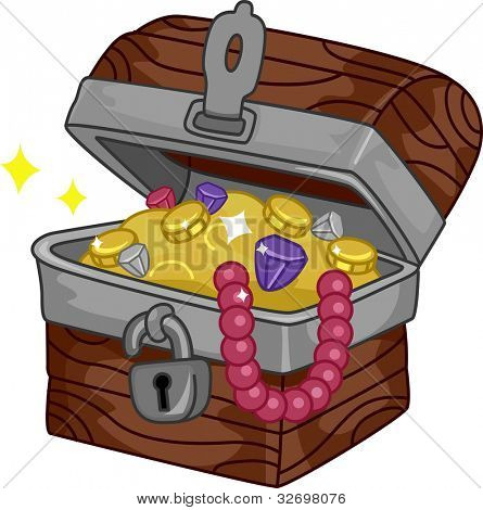 Illustration of a Treasure Chest Full of Goodies