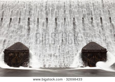 Caban Coch Dam Waterfall