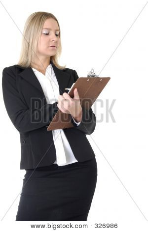 Business Woman Writing In Chart