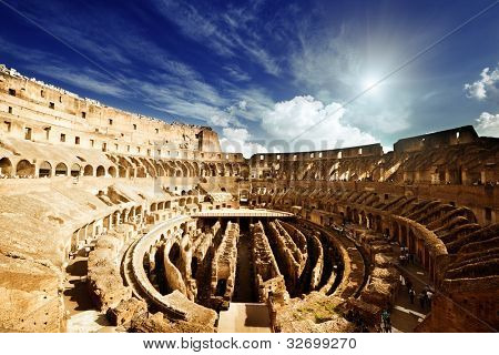 inside of Colosseum in Rome, Italy