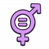 Hand Drawn Gender Equality Symbol. Female And Male Signs Combined With Mathematical Equals Sign. Fem poster