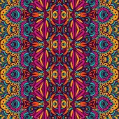 Festive Colorful Seamless Vector Pattern Psychedelic Doodle Art poster