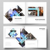 The Vector Illustration Of The Editable Layout Of Two Covers Templates For Square Design Bifold Broc poster