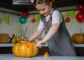 Carved Pumpkins Into Jack-o-lanterns For Halloween, Decoration And Holidays Concept. Little Girl Is  poster