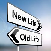 stock photo of retirement age  - illustration depicting a sign post with directional arrows containing a life choice concept - JPG