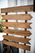 Wedding Wood Decoration. Copyspace On Wooden Board. Wooden Table Decorated By Flowers And Greenery A poster