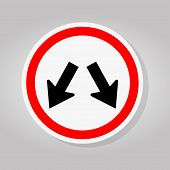 Keep Left Or Keep Right Traffic Road Sign Isolate On White Background,vector Illustration poster