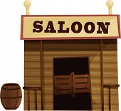 Illustration of saloon in the wild west