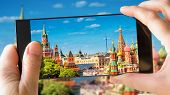 Moscow Kremlin And St Basils Cathedral In Summer, Moscow, Russia. Tourist Taking Photo Of Old Mosco poster