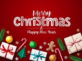 Merry Christmas Greeting Vector Banner Background. Merry Christmas Typography Text In Red Empty Spac poster