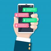 Text Messaging In Phone Hand. Mobile Chatting Conversation, Person Hands With Smartphone And Message poster