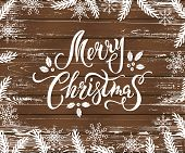 Merry Christmas And Happy New Year Card On Wood Textured Background. Place For Text. Hand Drawn Lett poster