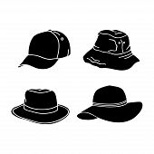 Silhouette Hat Design Collection Isolated White Background. Hat Icon Isolated On White Background. D poster