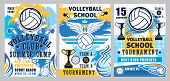 Volleyball Sport Game Championship Cup Vector Posters With Player Balls, Winner Trophies And Whistle poster