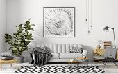 Modern Interior Of Apartment, Living Room With Grey Sofa, Armchair, Coffee Tables And Plant 3d Rende poster
